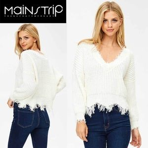 Just In! Main Strip Frayed V-Neck Sweater, Sz Med